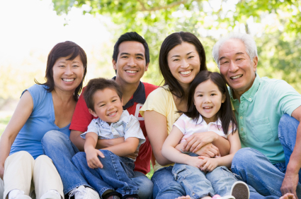 multiple generation asian family